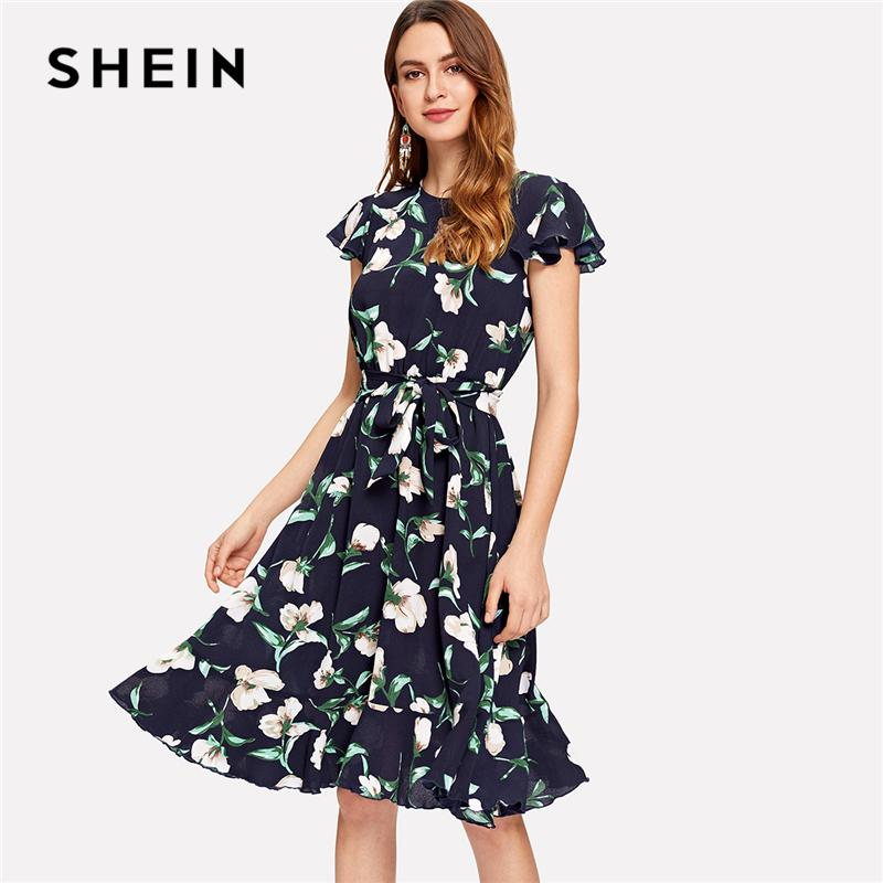 e5a3ec1b96 SHEIN Multicolor Vacation Boho Bohemian Beach Flutter Sleeve Self Belted  Ruffle Hem Round Neck Dress Summer Women Casual Dresses Long Maxi Summer  Dresses ...