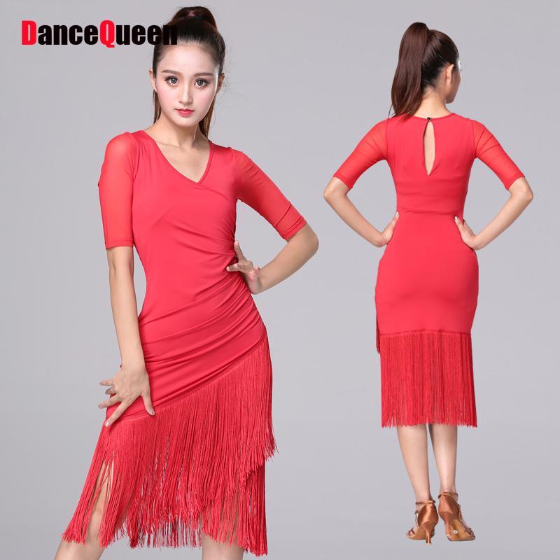 35577f88b0491 New Arrival Latin Dance Dresses For Ladies Red Black Color Milk Fiber  Fringe Skirt Women Ballroom Showing Compete Wears Q11071