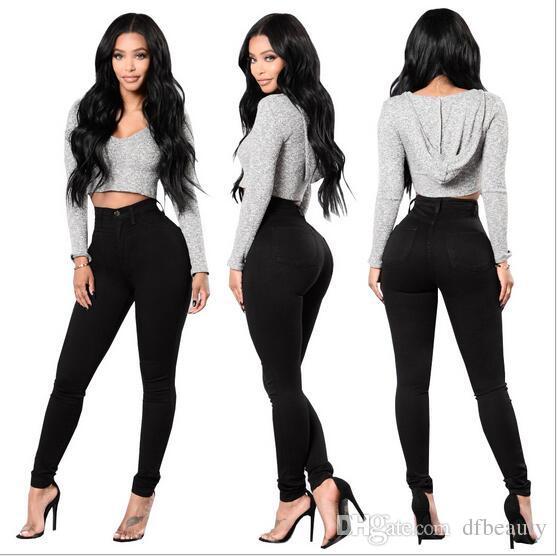 76d0cbb2f7 Compre Roupas Femininas Sexy Skinny Jeans Mulheres Cintura Alta Estiramento  Slim Fit Denim Calças Denim Calças Jeans Liso Skinny Preto Branco De  Dfbeauty