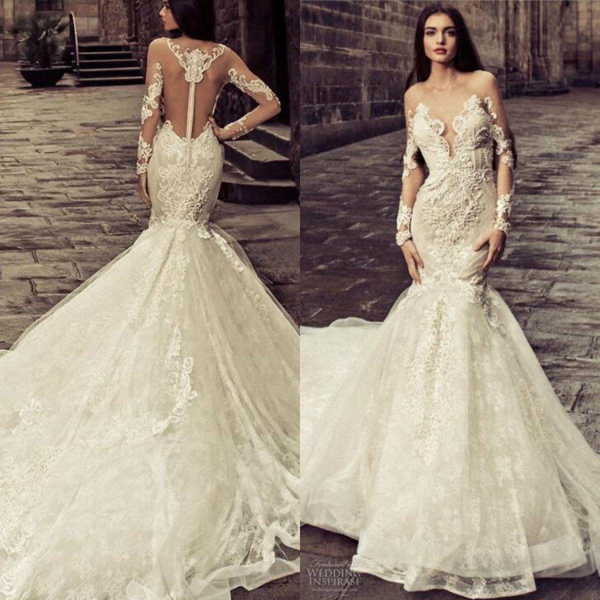 288b5572014e Julia Kontogruni 2018 Wedding Dress With Long Sleeves Sheer Neck Appliques  Beaded Bridal Gowns Sweep Train Mermaid Wedding Dresses Cheap Lace Mermaid  ...