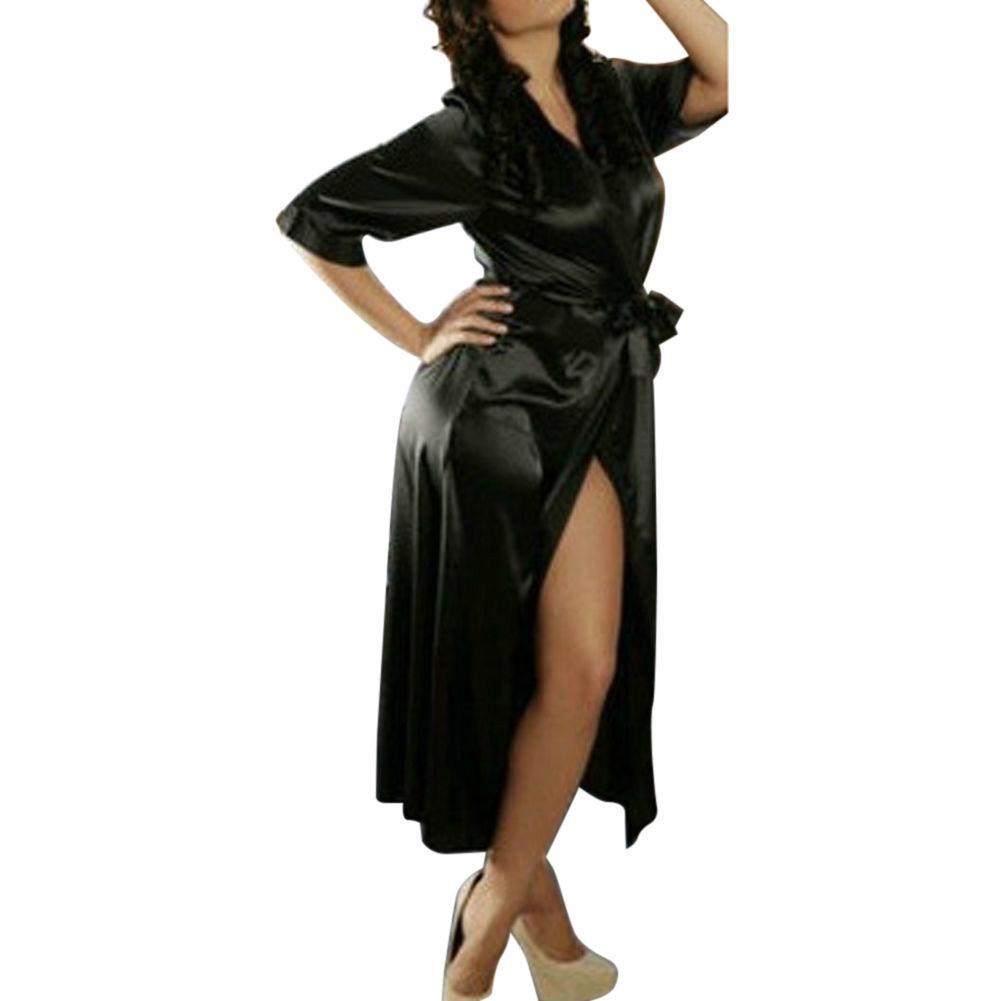 5fa347850 Compre Sexy Hot Mulheres Lingerie Primavera Com Decote Em V Longo Manga De  Luxo Camisola Mid Calf Robe Amanda0928 De Regine