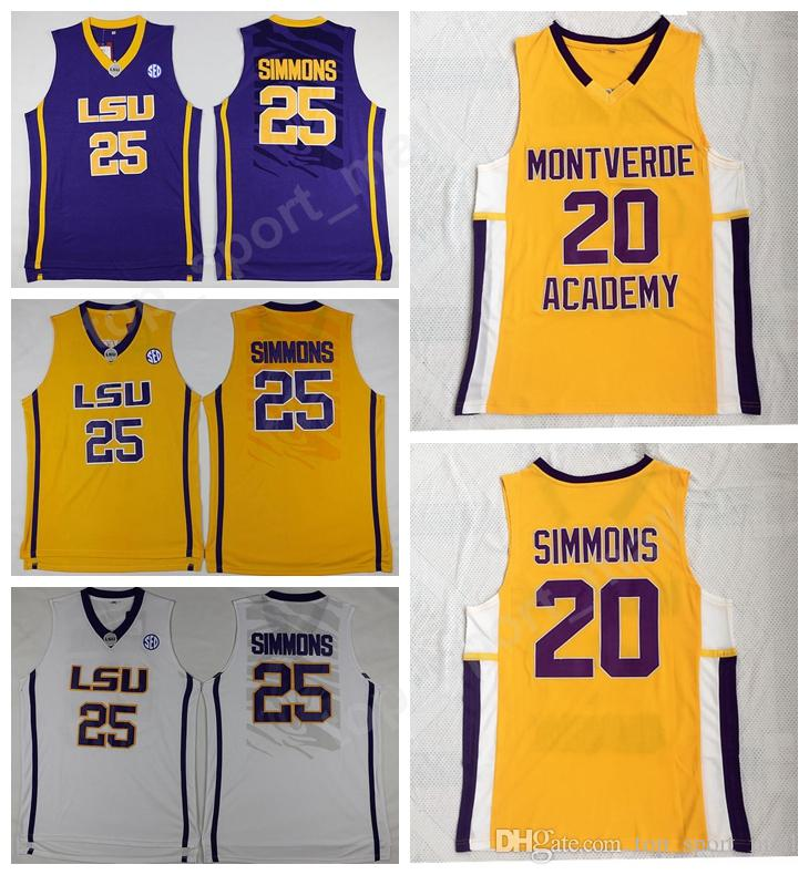 new arrivals 3f8e3 98416 High School Montverde Academy Eagles Ben Simmons Jersey 20 Men Basketball  LSU Tigers College 25 Simmons Jersey Sticthed White Yellow Purple