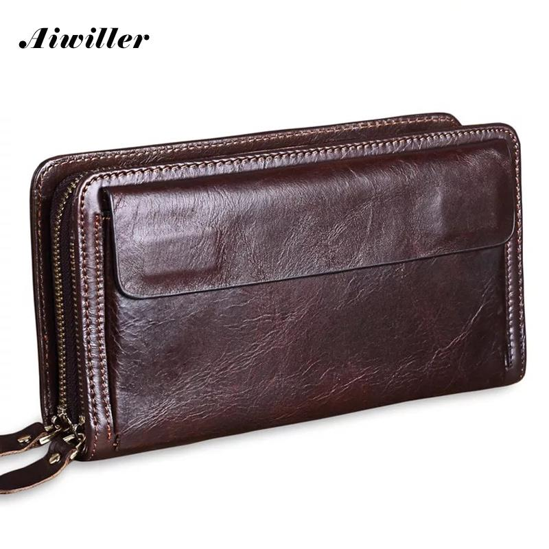 Men Wallets Long Double Zipper Purse Hand Bag Male Business Clutch Wallet  Christmas Gift Genuine Leather Male Purse Large Zip Around Wallet Kids  Wallets ... d037b877702
