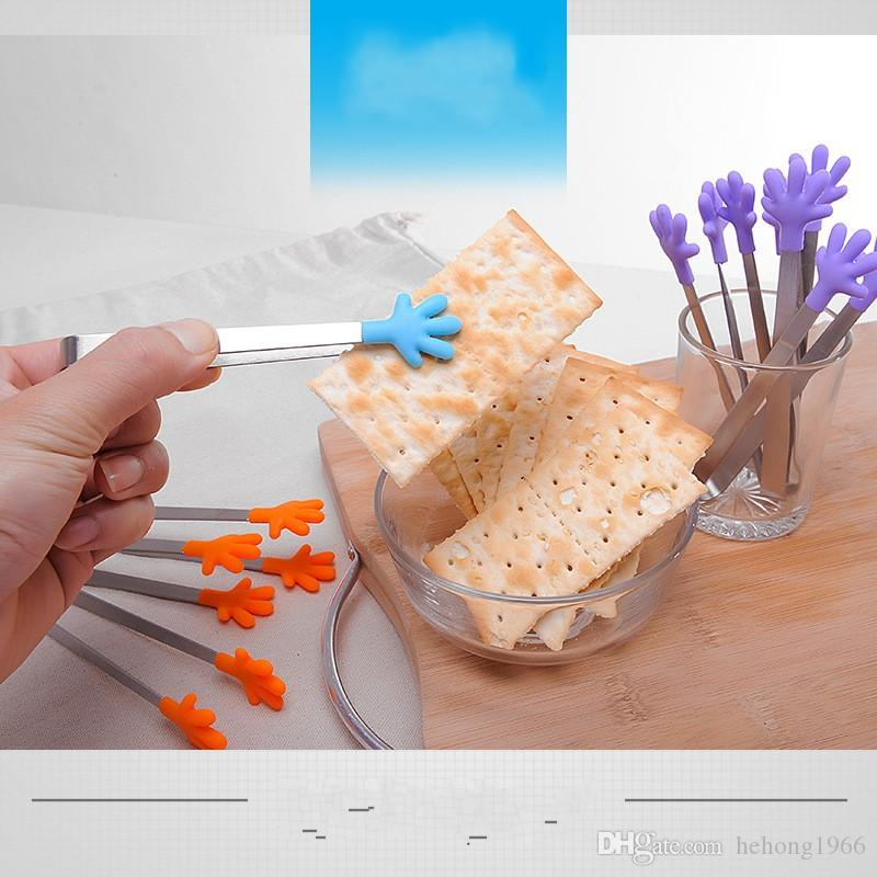 Silicona Food Clip Palmas pequeñas Antideslizante Hielo Azúcar Acero inoxidable Abrazadera de grado alimenticio Múltiples colores Pinzas Higiene Venta caliente 1 7mr V