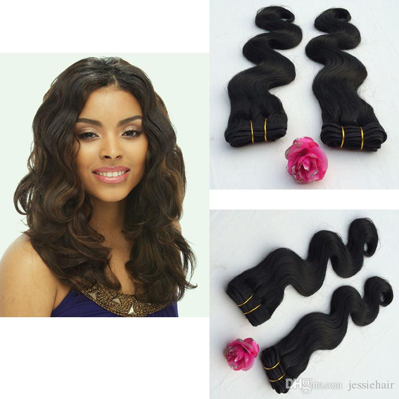 Black 1214161820body Wave Human Hair Mix Futura Synthetic Fiber