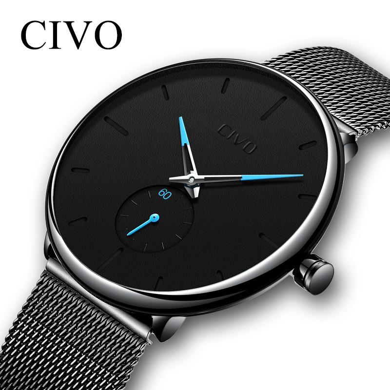 845dadfc654 Compre CIVO Mens Watch Com À Prova D  Água Ultra Fino Minimalista Relógios  De Pulso Para Homens De Moda De Luxo Relógio De Quartzo Relógio Relogio  Masculino ...