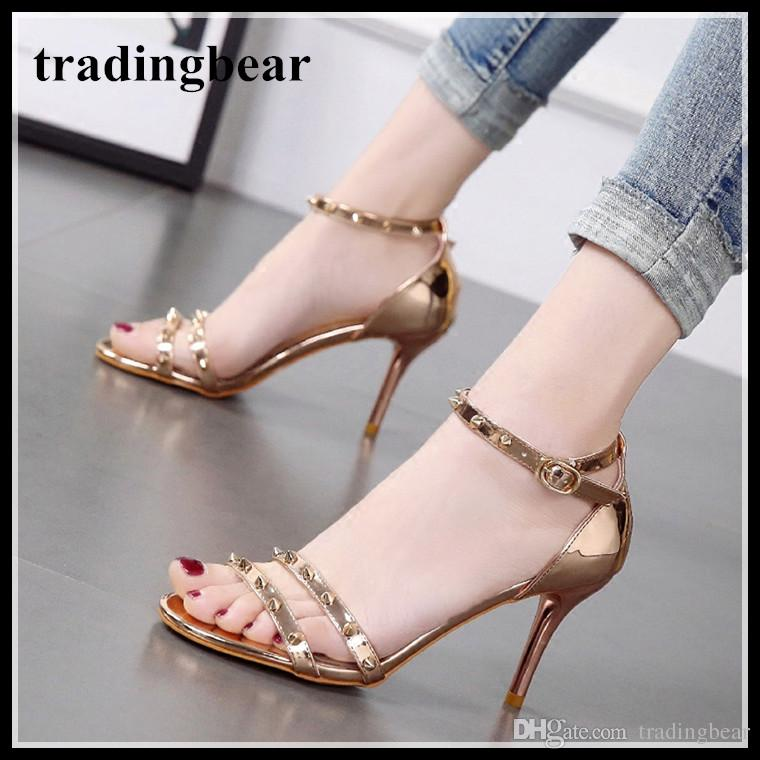 1a84fe5c3f2 8cm champagne gold silver wedding shoes women high heels ankle strap rivets  shoes summer sandals 2018 size 34 to 39