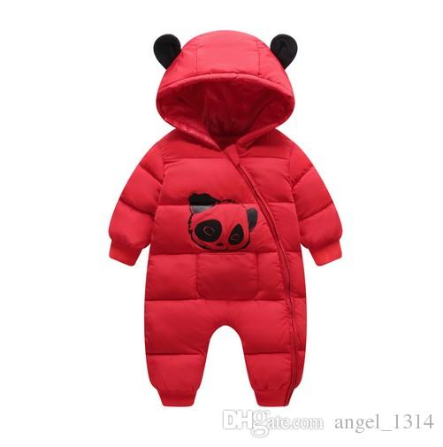 3e53ceea634 New Born Winter Hooded Rompers Baby Boy Girl Clothes Thick Cotton ...