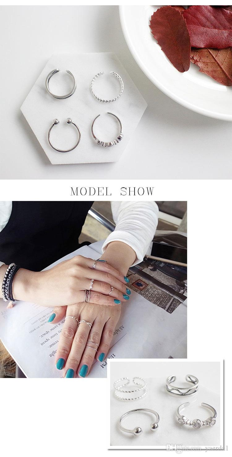 South Korea's overall S925 sterling silver retro old personality creative opening joint tail ring ring gold chain necklace jewelry silicone