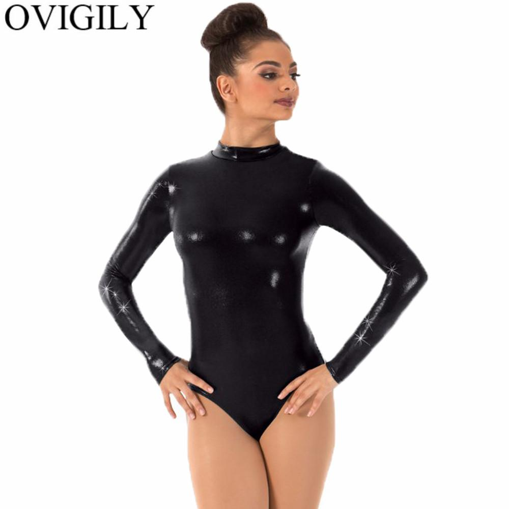 1a5a50d376 2019 OVIGILY Women Silver Gymnastics Leotard One Piece Leotards Bodysuits  Adults Mock Neck Long Sleeve Ballet Dance Leotard For Girls From Matilian