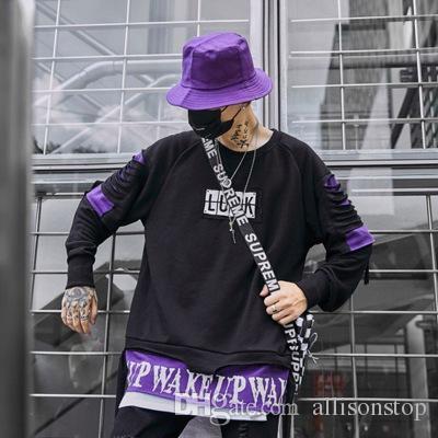 dd34caa24da7 2019 Mens Hoodies Broken Hole Letter Printing Male Fashion High Street Hip  Hop Long Sleeves Fake Two Piece Sweater Sportswear Lover Sweatshirts From  ...