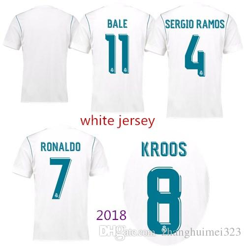 Real Madrid 2018 Jerseys Football RONALDO ASENSIO MODRIC White ... d69f21bfd