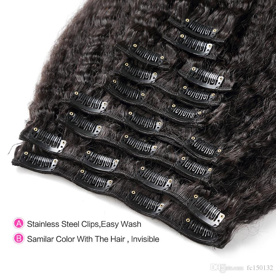 kinky straight clip in human hair extensions 120g yaki human hair clip in extensions yaki clip in extensions