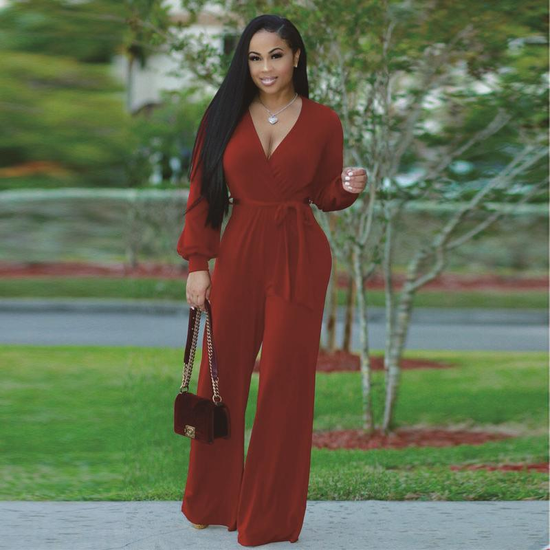 a606483ec0f 2019 Casual Women One Piece Outfits Jumpsuits Long Sleeve V Neck Bodycon  Front Overlapping Long Work Wear Jumpsuit 2017 Autumn Winter From Redbud06
