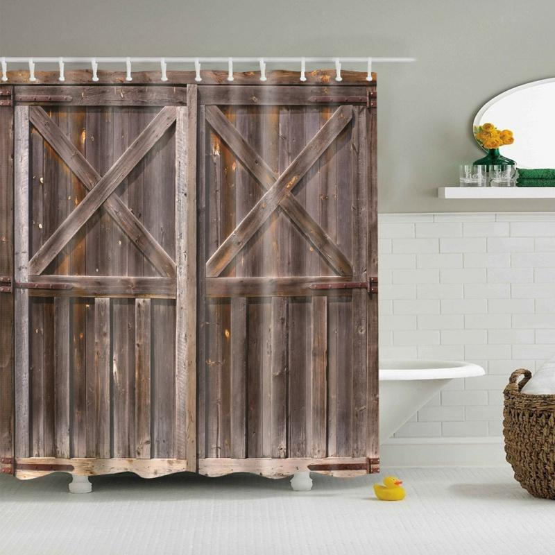 2019 Rustic Shower Curtain Old Wooden Barn Door Of Farmhouse Countryside Village Board Rural Life Photo Print From Goutour 3343