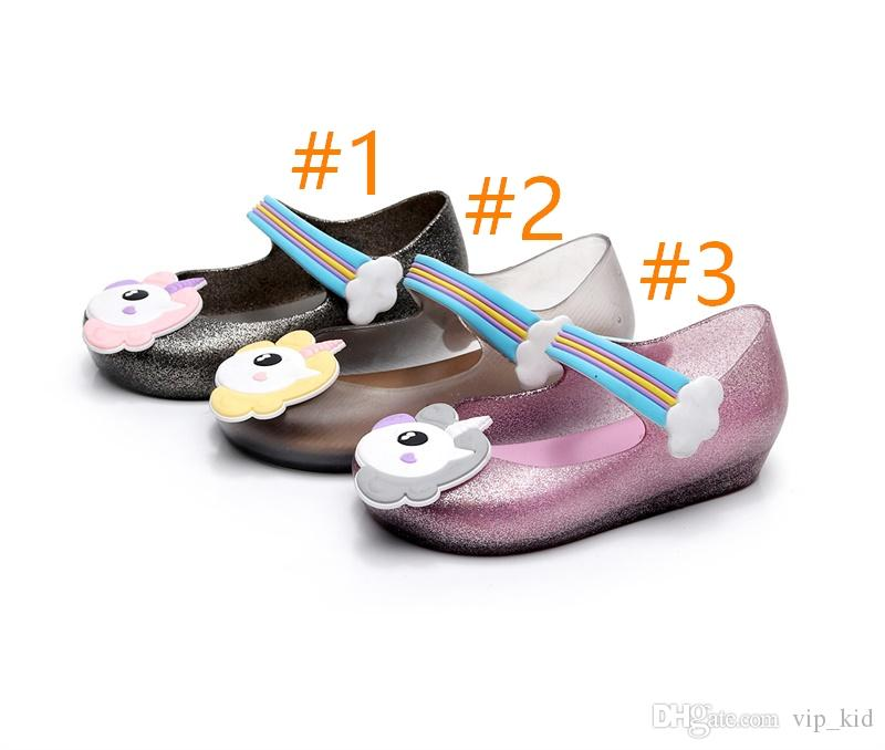 3 style Kids shoes Unicorn mini sed jelly sandals for baby unicorn children girls princess shoes cute cartoon transparent bling soft beach