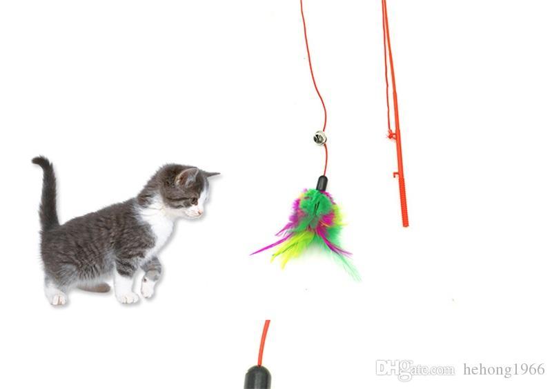 Angelrute Katze Spielzeug Bunte Federn Teleskop Seil Tease Kätzchen Stick Mit Glocken Durable Steel Bar Pet Interaktion Spielzeug 2 2zk Y