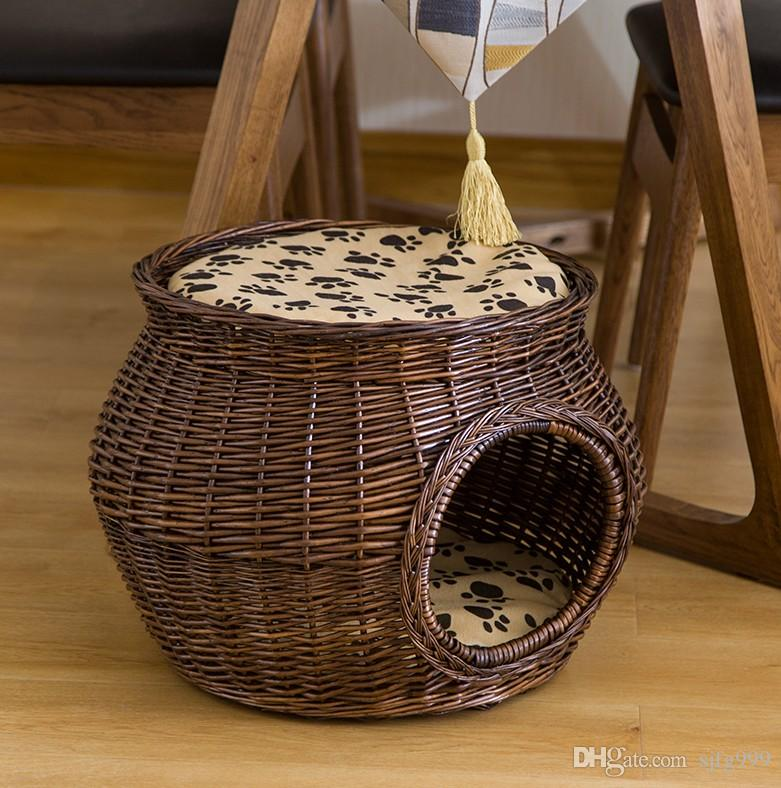 Grosshandel Xl Grosse Grosse Handgefertigte Weidenkorb Katze Bett Hohle