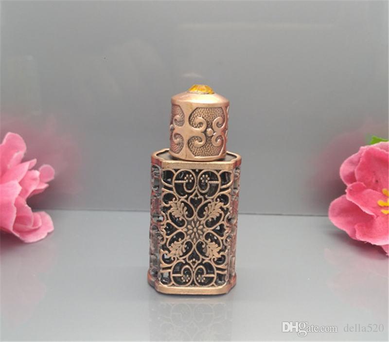 3ml Retro Miniture Vintage Glass Bottles for arab perfume,Empty antique glass bottle,Bronze arabic perfume bottles small glass bottle