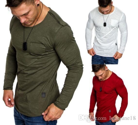 957aadf57ecd 2018 modelos de explosión de color sólido de los hombres cuello redondo con  capucha de manga larga T-shirt de costura camiseta sudaderas deportivas ...