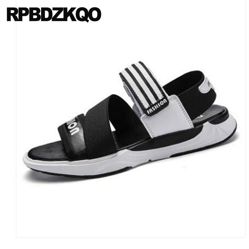 da397d32a9d0f Runway Beach Shoes Men Gladiator Sandals Summer Sport Water Open Toe  Fashion Black 2018 Roman Designer Waterproof Elastic Strap Wedge Heels Pink  Shoes From ...