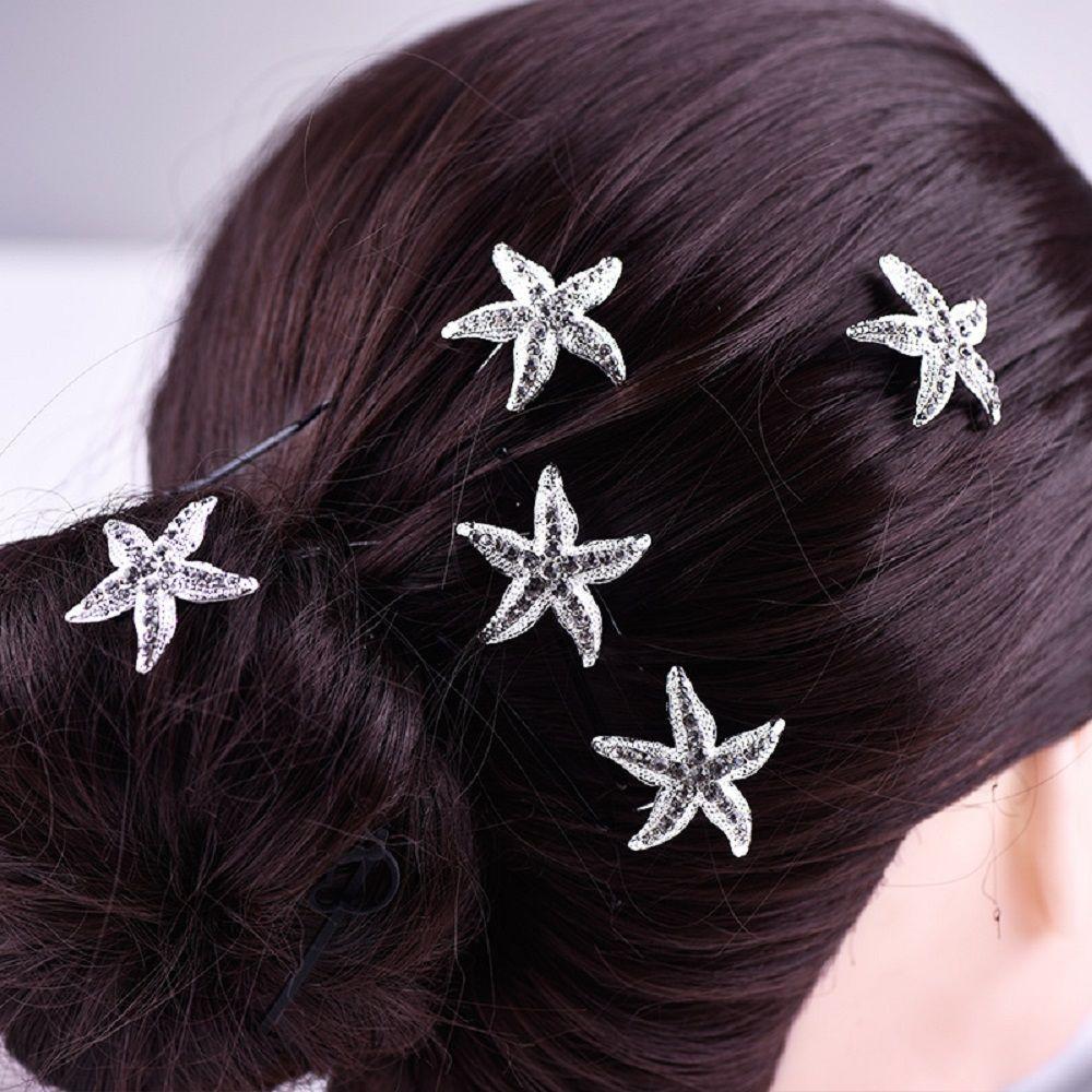 / mode élégante femme élégante en forme de U argenté mer coquille étoile de mer cheveux Clip Pin mariage mariée fille épingle cheveux peigne en gros