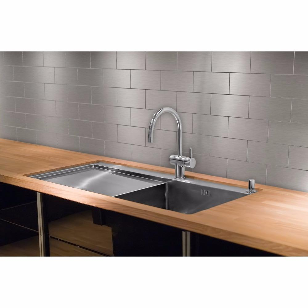 Peel And Stick Stainless Steel Kitchen Backsplash Tiles 3 X 6