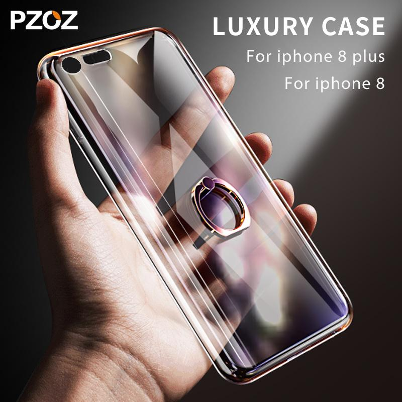 For Iphone 8 Case Cover Transparent Silicone With Ring Holder