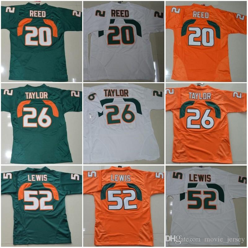Miami Hurricanes College-Trikots # 20 Reed 52 Ray Lewis Jersey ACC 26 Sean Taylor Football Jerseys Orange Grün Weiß