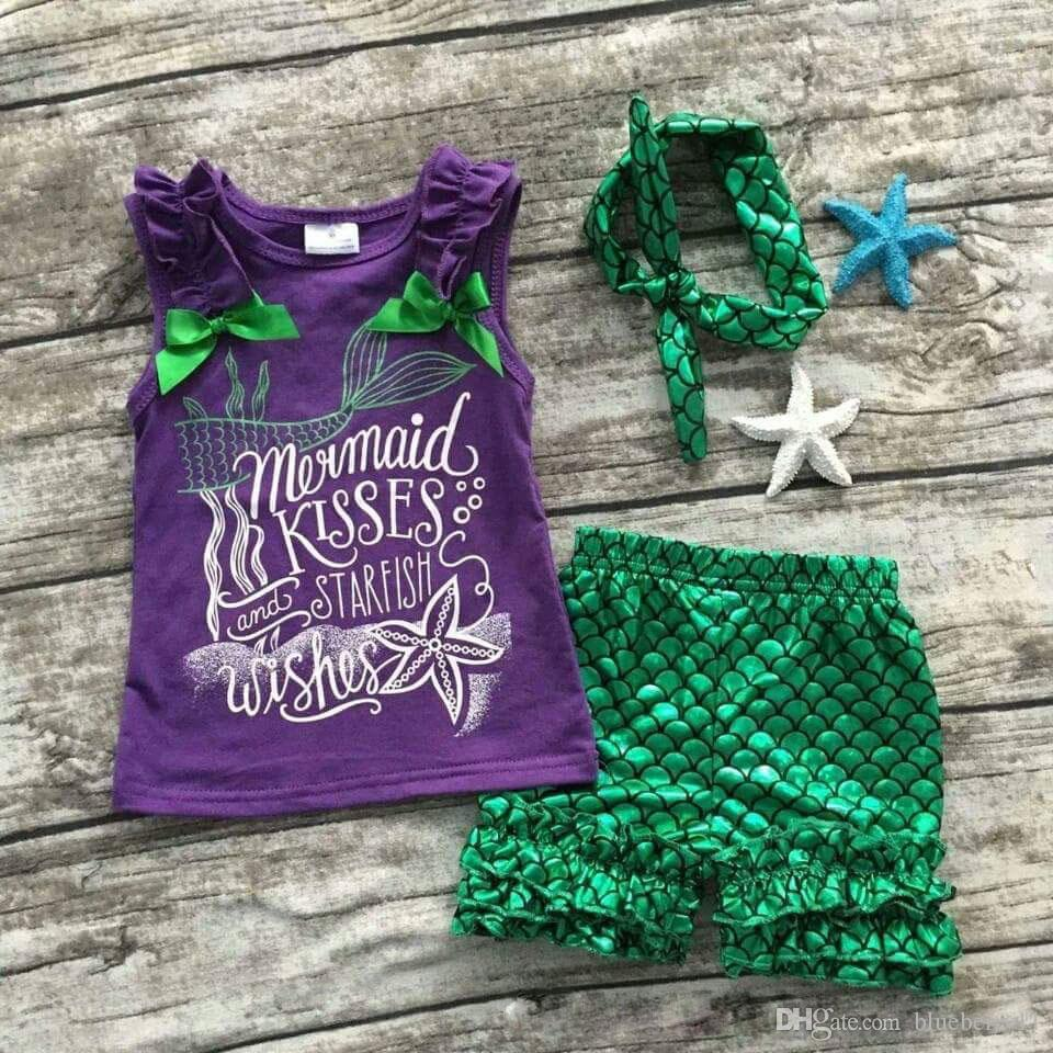 Fashion Girls Clothing Purple Green Scale Mermaid Boutique Short Sets Starfish Kids Summer Beach Sleeveless Clothes Clothing