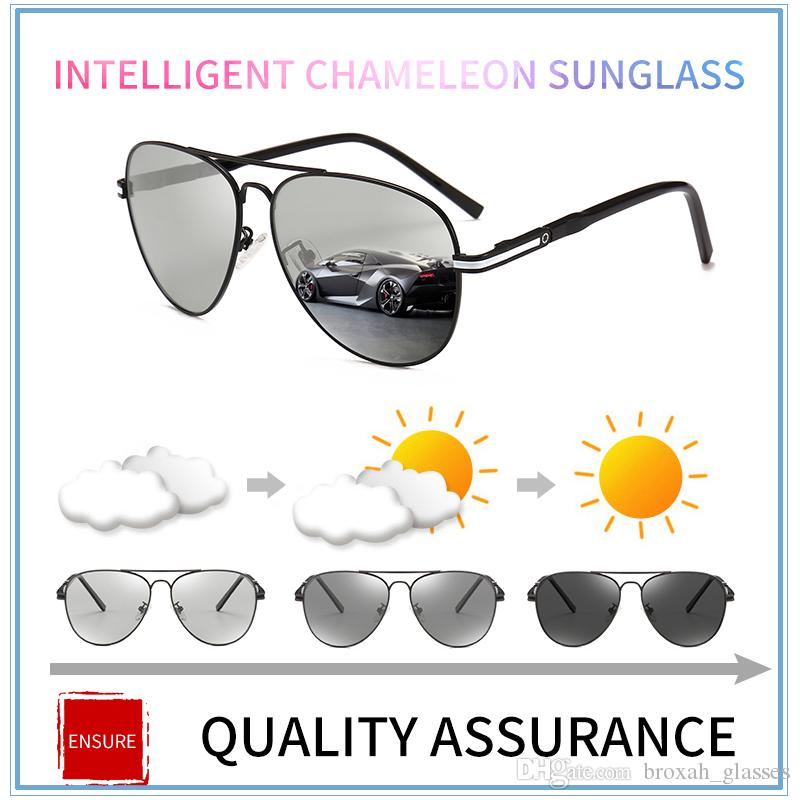 3ac8be2648ad Retro Photochromic Polarized Sunglasses Men Reflective Lens Brand ...