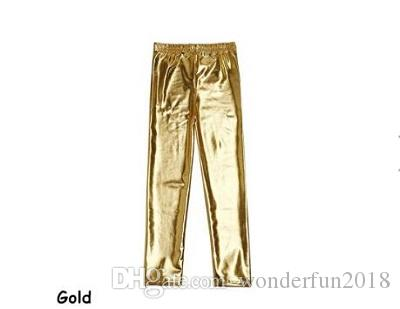 Little Girls' Metallic Color Shiny Stretch Leggings Baby Girls Pants Faux Leather Leggings For Toddlers