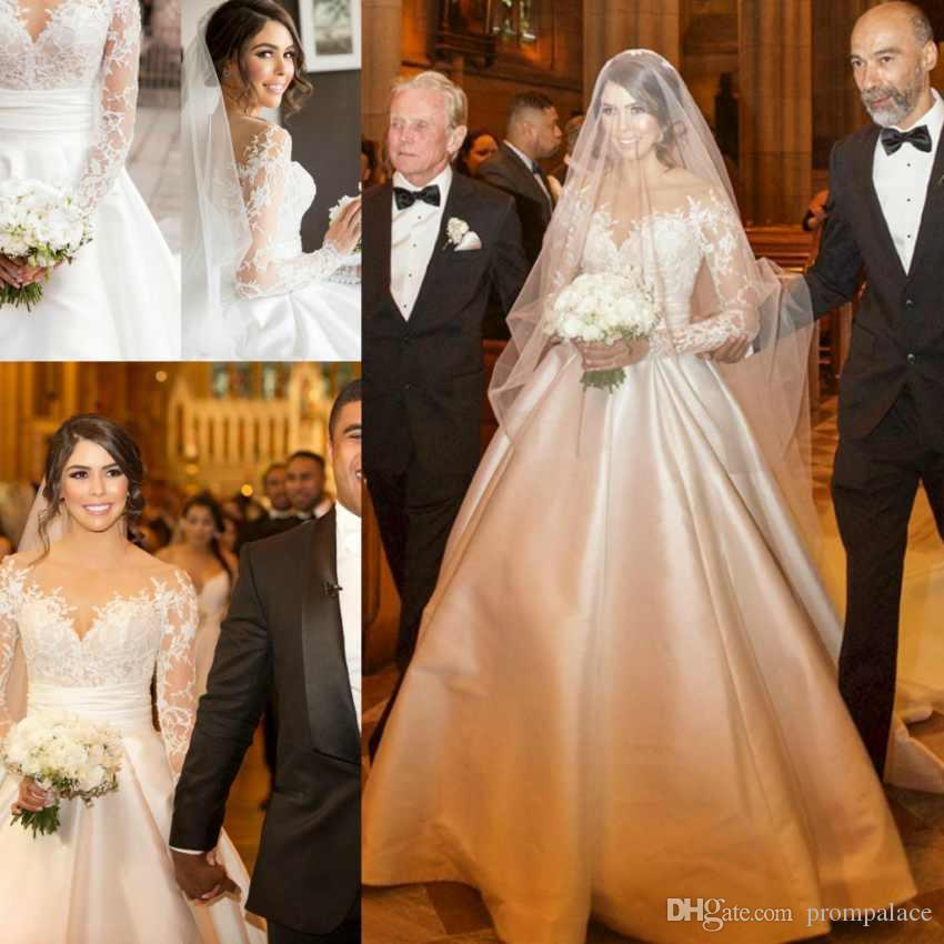 8aa30ff36800 Discount Country Style Plus Size Wedding Dresses Lace Long Sleeves Saudi  Arabic Trendy A Line Bridal Gowns Bride Wedding Dresses Cheap A Line Wedding  ...