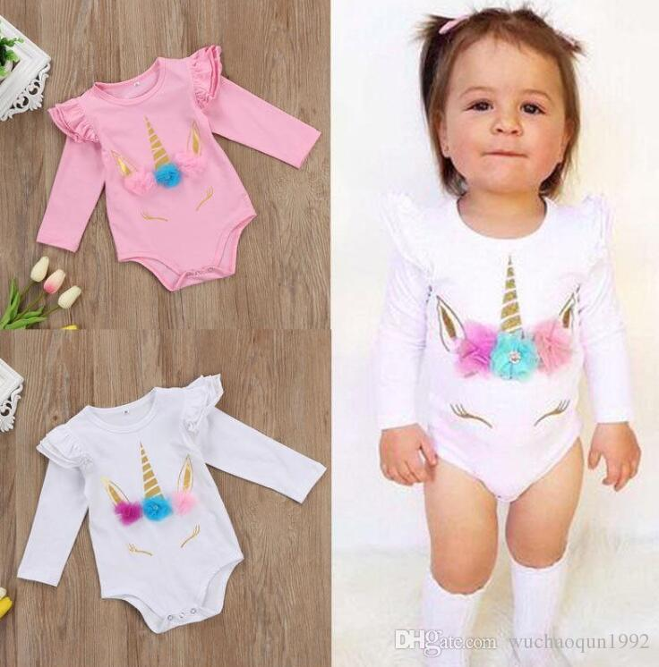 bébé fille barboteuse coton enfant combinaison vêtements rose blanc long à manches courtes costume du corps manches volantée filles mignonnes enfant en bas âge costumes barboteuses