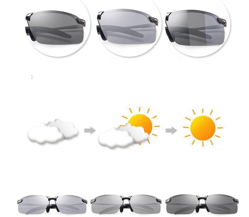 d991cc5d5b Gafas De Sol Fotocromáticas Del Camaleón Hombres Diseñador De La Marca Gafas  De Sol Polarizadas Hombre Cambio De Color Gafas De Conducir Gafas LJJK995  Por ...