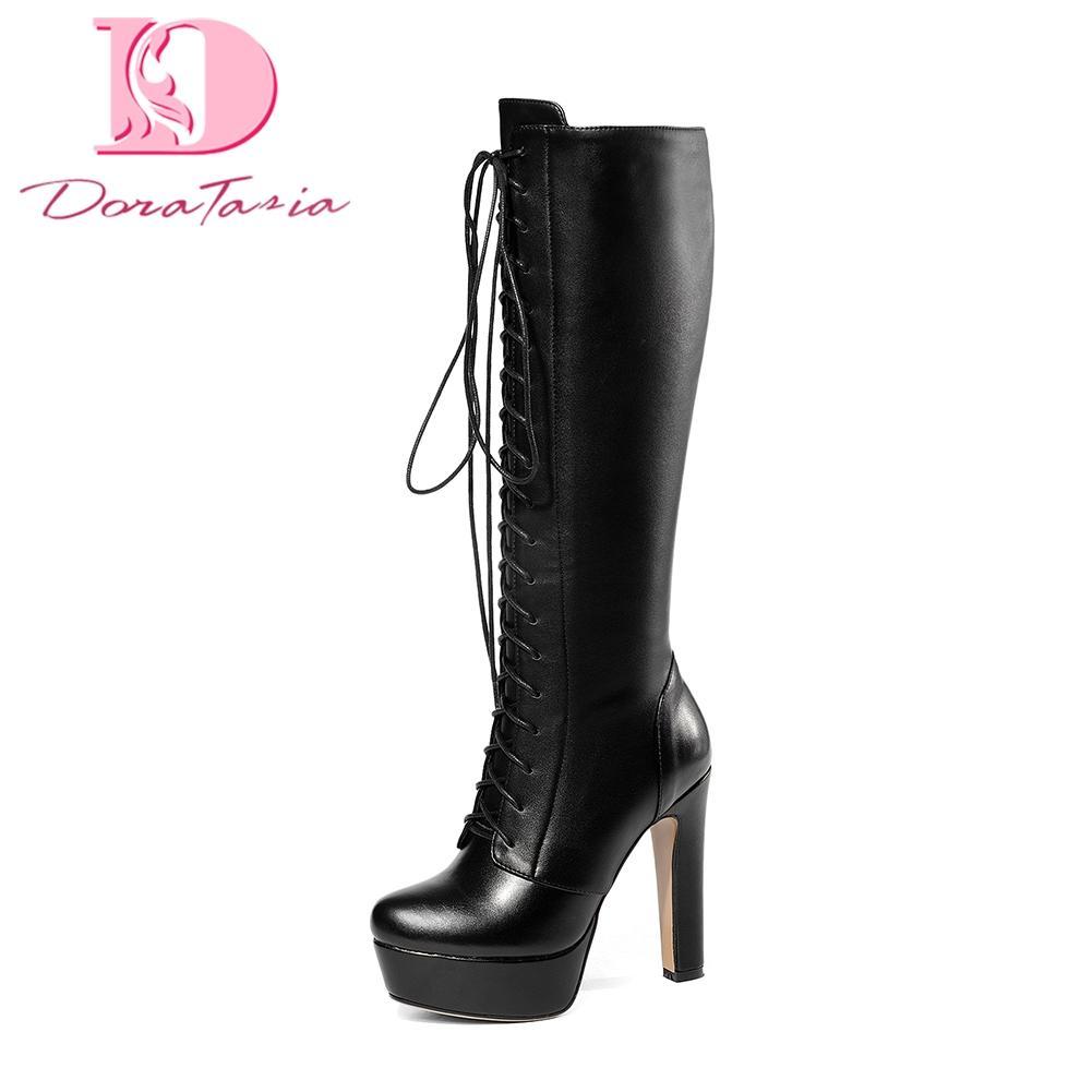 9e5b63b09b2 Compre Doratasia Marca De Couro Genuíno Cadarços Plus Size 34 43 Plataforma  Das Mulheres Botas Mulheres Sapatos De Salto Alto Sapatos De Mulher Botas  De ...