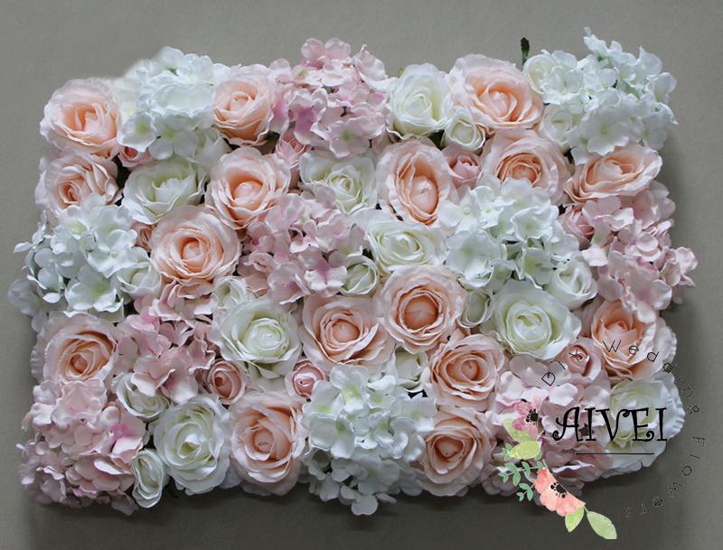 Açık Pembe Düğün için çiçek duvar arka plan dekorasyon yapay ipek çiçek duvar dekorasyon düğün sahne backdrop