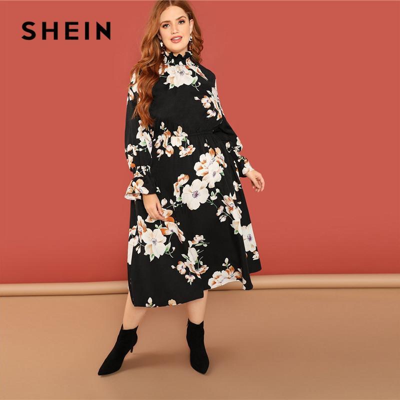5a0b5a581c SHEIN Bohemian Flower Print Ruffle Sleeve And Stand Collar Black Floral  Dress Plus Size Women Boho A Line Long Dresses Floral Dress Women Casual  Purple ...