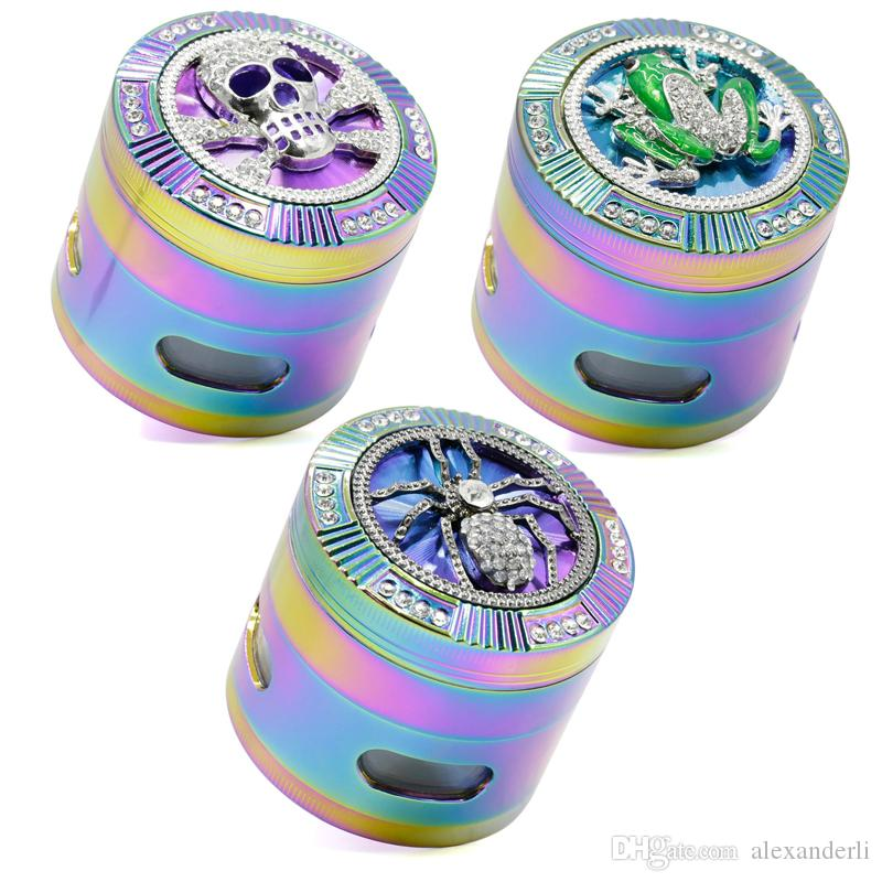 cbd9248fa 2019 Beautiful Rainbow Grinders 63MM With 4 Parts Grinder Zinc Alloy Skull  Frog Spider Tobacco Herb Grinders Diamante Smoking Spice Crusher From  Alexanderli ...