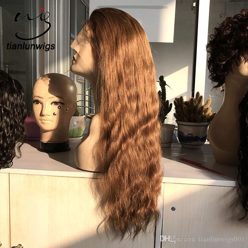 pelucas de encaje completo de 150% de densidad de cabello humano con cabello de bebé, pelucas de encaje de cabello humano marrón claro, cabello liso brasileño virgen de color # 18