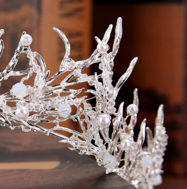 رائع الأميرة الزفاف التيجان الزفاف جوهرة أغطية الرأس التيجان للنساء الفضة معدن اللؤلؤ الكريستال حجر الراين الباروك رباطات الشعر