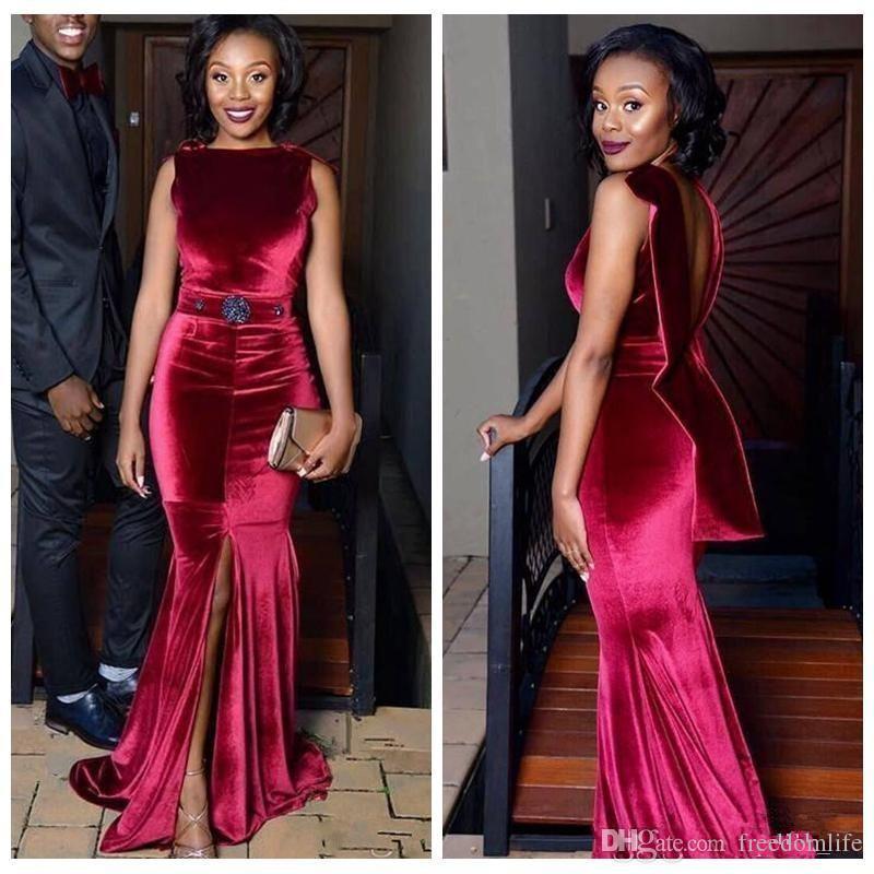 1edfe567e8 Vestidos de noite de veludo vermelho escuro vermelho Mermaid Backless Front  Split Vestidos de festas de festa de festas Aso Ebi Black Girls Vestidos de  ...