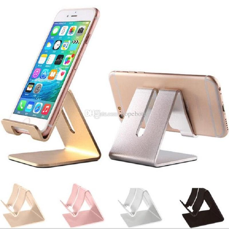 Aluminum Metal Phone Holder Desktop Universal Non Slip Mobile Stand Desk For Iphone Pad Samsung Tablet Cell
