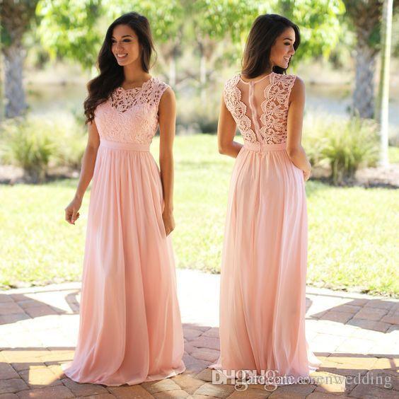 레이스 쉬폰 라인 컨트리 들러리 드레스 보석 목 긴 웨딩 게스트 드레스 바닥 길이 들러리 가운 핑크 블러쉬