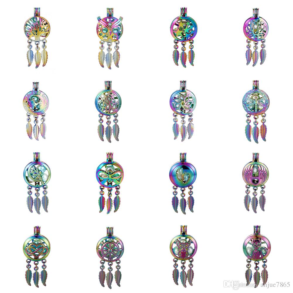 10pc Rainbow Colored Dream Catcher Dragonfly Tree of Life Oyster Pearl Cage Essential Oil Diffuser Mohemian Locket Pendant Jewelry Making