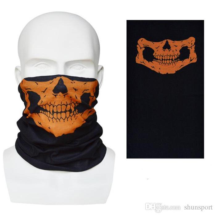 Nouveau Crâne Design Multi Fonction Bandana Ski Sport Moto Biker Écharpe Demi Masques Faciaux En Plein Air Masque Facial 12 couleurs