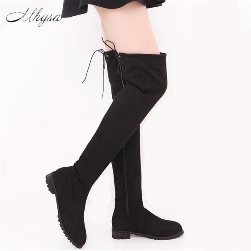 86bf7c990f Mhysa 2018 Winter Women Shoes New Over The Knee Thigh High Black Boots  Women Motorcycle Flats Long Boots Large Size 34 43 Z32 Rubber Boots Ski  Boots From ...