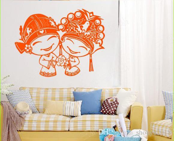 Бесплатная доставка детская комната стены стикеры Home Decor гостиная Brdroom наклейки на стены девушка мультфильм съемный обои росписи дети искусство