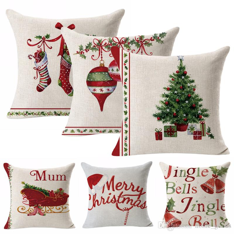 christmas decoration pillow case christmas elk cotton linen christmas tree sofa pillow coverbedroom cushion cover home decorative pillowcase decorative - Christmas Decorative Pillows
