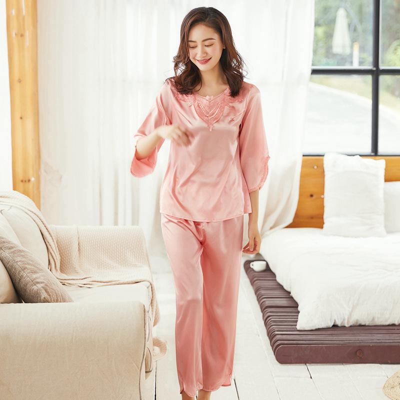 f19becea22 2019 Hot Pajamas Set Sexy Silk Female Women Sleepwear Long Pants Nighties  Nightwear Pink Red Lingerie Summer Combinaison Pyjama From Chengdaphone02